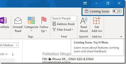 Coming Soon Feature in Outlook 365